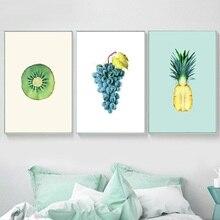 Kiwi Obst Traube Ananas Wand Kunst Leinwand Malerei Poster Und Drucke Wand Bilder Für Wohnzimmer Küche Decor