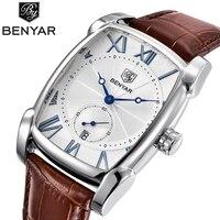 Top Luxury Brand BENYAR Leather Strap Men's Watches Sports Square Men Quartz watch Clock Military Wrsit Watch Relogio masculino