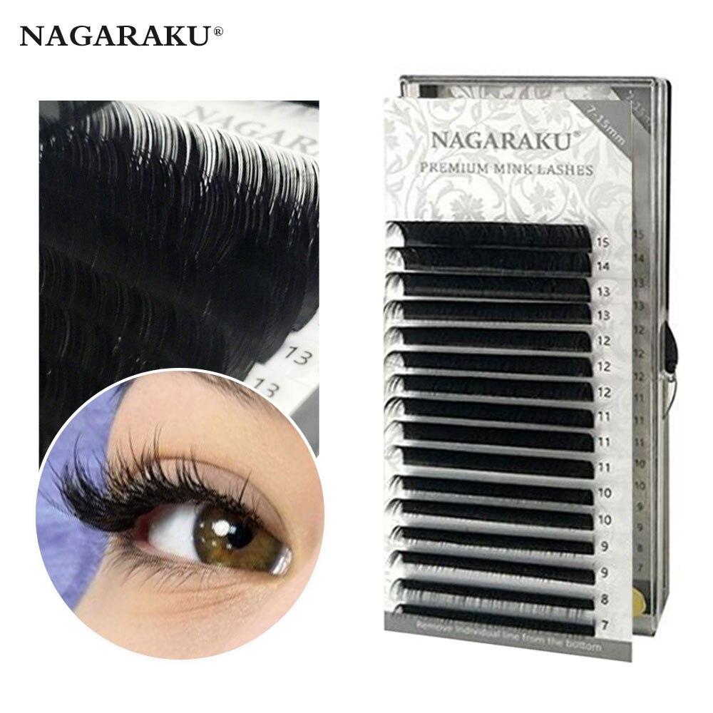 NAGARAKU 16 שורות 7 ~ 15mm לערבב פרימיום טבעי סינטטי מינק פרט ריס הארכת איפור maquiagem cilios איפור כלי