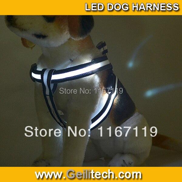 Venta al por mayor 200 unids/lote arnés de cinturón de seguridad para perros de Nylon con Flash LED brillante