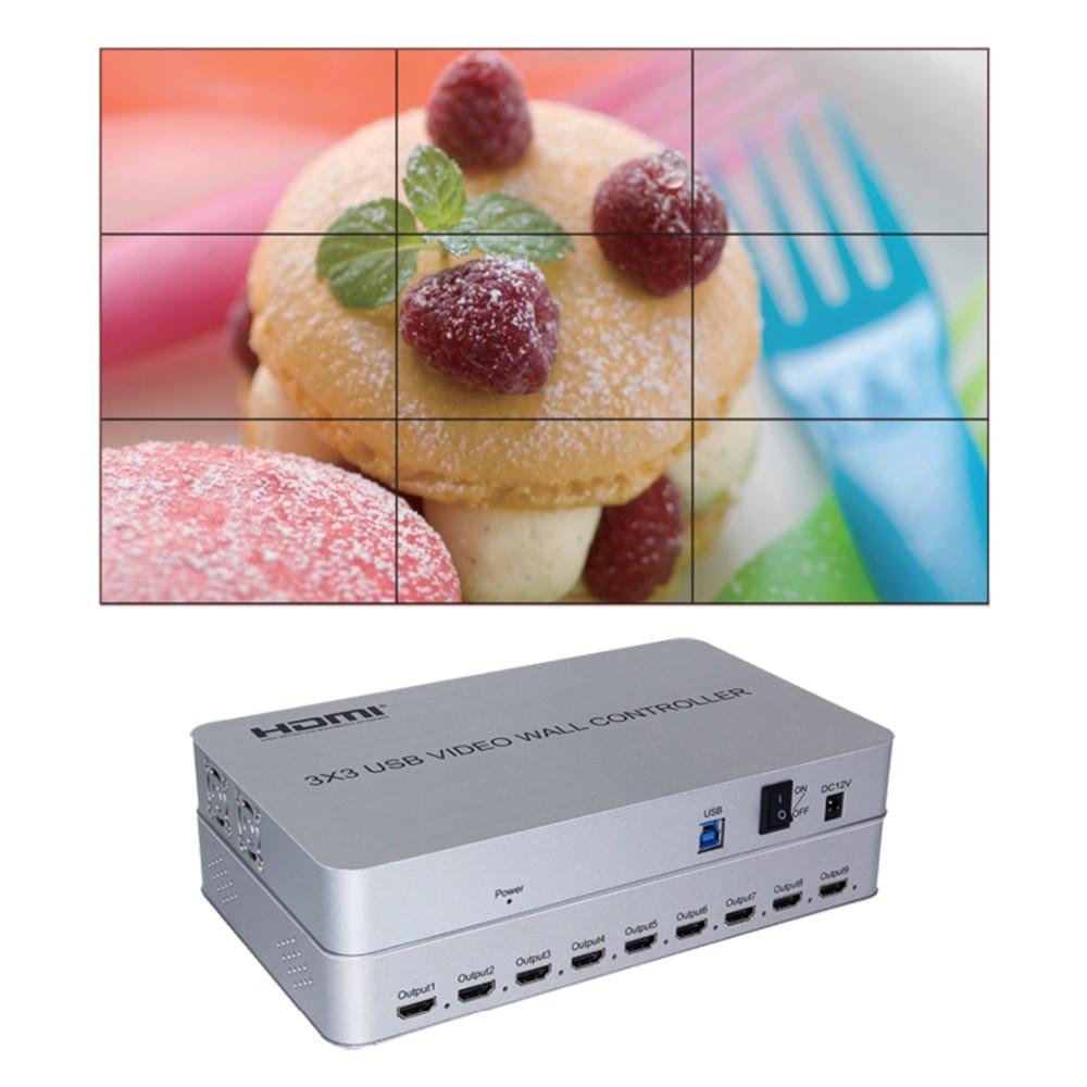 Tv vídeo parede controlador 1 usb 3.0 em 9 hdmi para fora 2x2x3 2x4 3x3 imagens costura 9 tv mostra uma emenda de tela