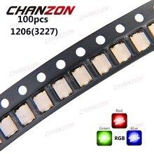 100 stücke 1206 (3227) RGB Gemeinsame Anode SMD LED Perle Tricolor Rot Grün Blau 20mA Ultra Helle Chip Licht Emittierende Diode Lampe SMT