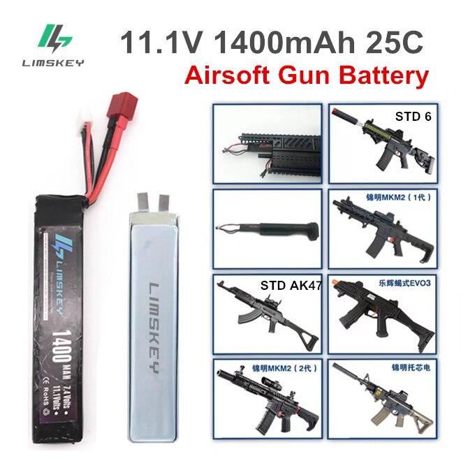 Limskey Lipo Battery, 11,1 В, 1400 мА/ч, 25С, мини-батарея для страйкбольного пневматического пистолета