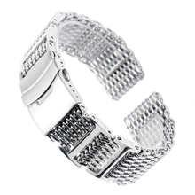 Ремешок для часов мужской из нержавеющей стали, складная застежка с сеткой типа «Акула» высокого качества, серебристый сменный Браслет для ...