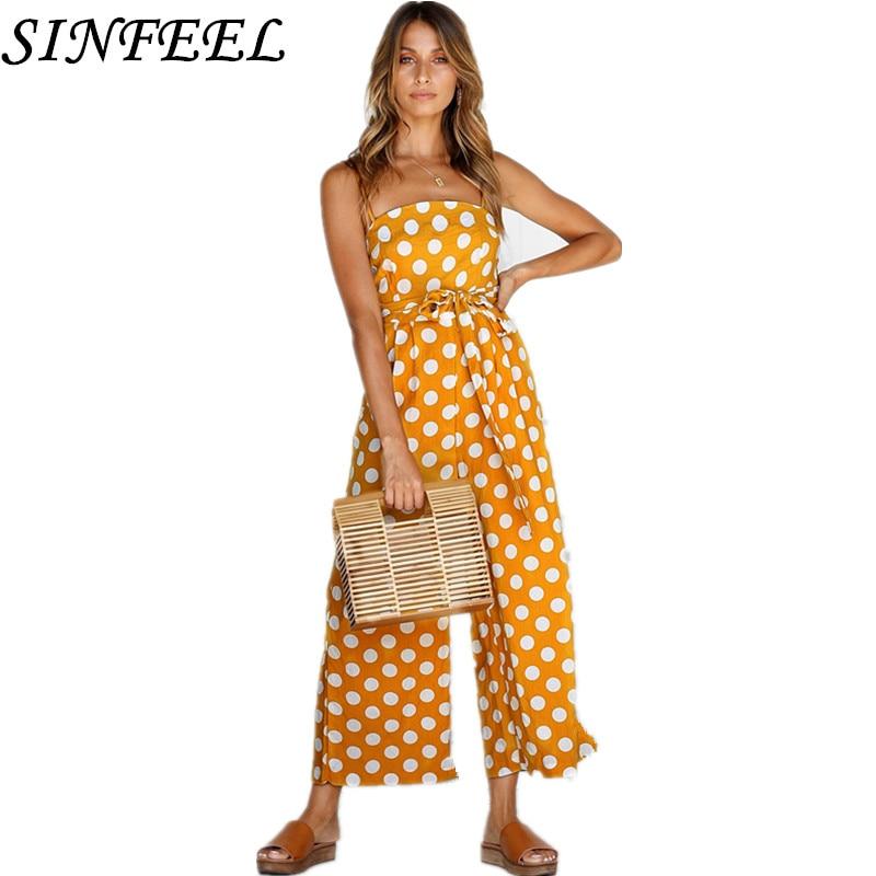 SINFEEL Sexy Camisole Jumpsuit 2018 Summer Women Wide Leg Long Pants Bodysuits Dot Fashion Bandage Rompers Womens