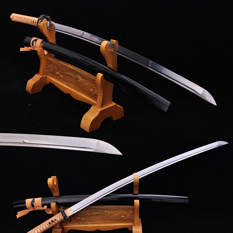 Alta calidad samurái japonés Katana espada clásica alto carbono acero corte árbol