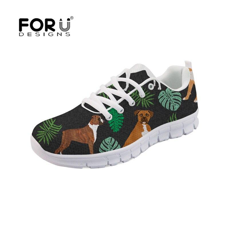 FORUDESIGNS moda mujer 2019 zapatos casuales Boxer perro estampado transpirable malla pisos mujer encaje up Sneakers chaissure Mujer