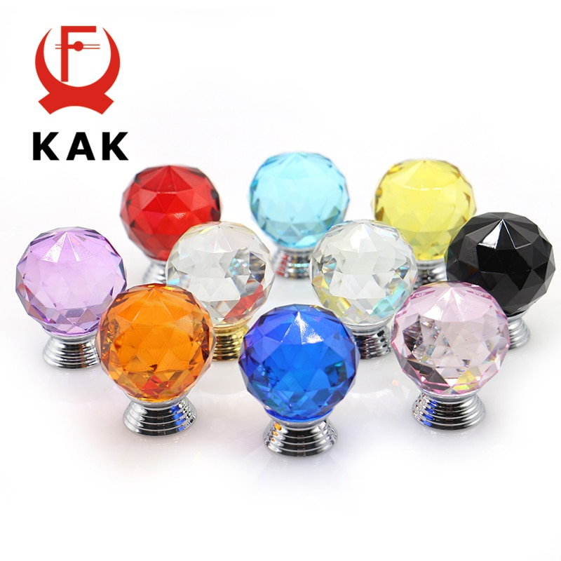 KAK 30mm Crystal Glass Knobs Cabinet Handles Colorful Ball Cupboard Pulls Drawer Kitchen Furniture Handle Hardware