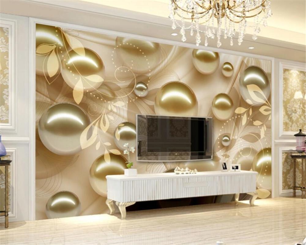 Papel tapiz personalizado para pared 3 D, estilo europeo, dorado, Perla de bola, hoja, Fondo de TV papel tapiz estéreo, decoración del hogar Beibehang