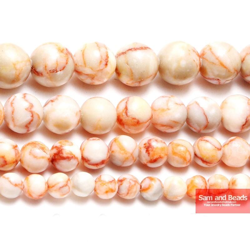 Pierre naturelle lisse ronde rouge Web Jasp rayure perles 16