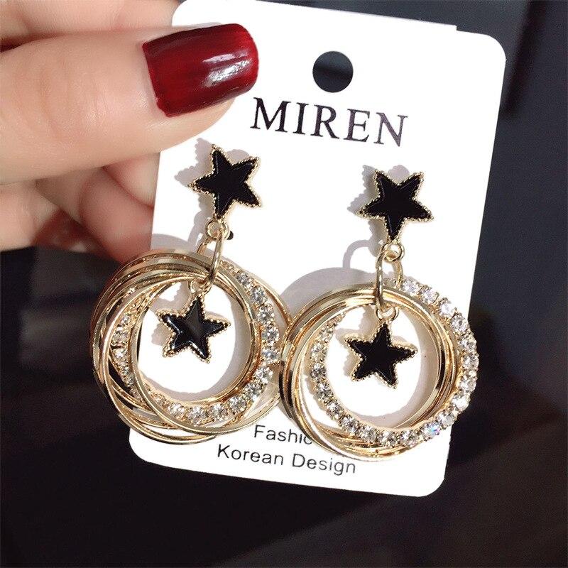 ¡Novedad de ! pendientes de circonia Brincos de bisutería de cristal con diamantes de imitación huecos redondos de estrella colgando para mujer, joyería de moda