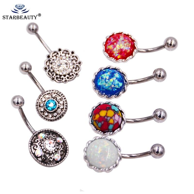 8 видов на выбор, поддельные опаловые серьги для живота, пирсинг титана, покрытие, кольцо на пупырку, 14 г, номбрил, Ombligo
