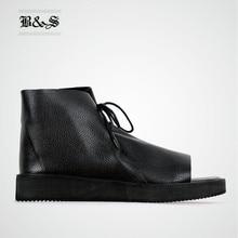 Black& Street 2018 Black Thick Sole Summer Genuine Leather Sandals Lace Up vintage Open Toe Platform men Causal Sandals