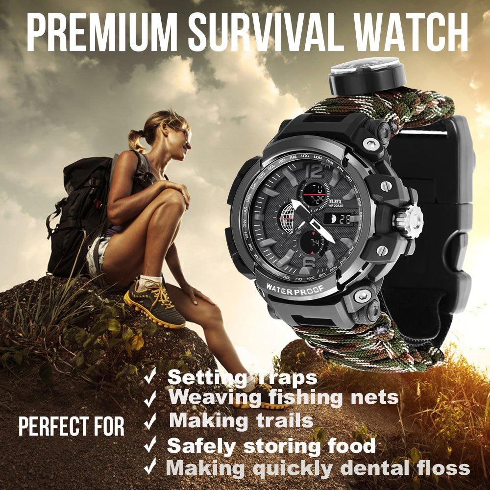 Edc sobrevivência ao ar livre relógio multi-funcional à prova d50 água 50 m paracord pulseira relógio para homens mulher acampamento caminhadas engrenagem de emergência