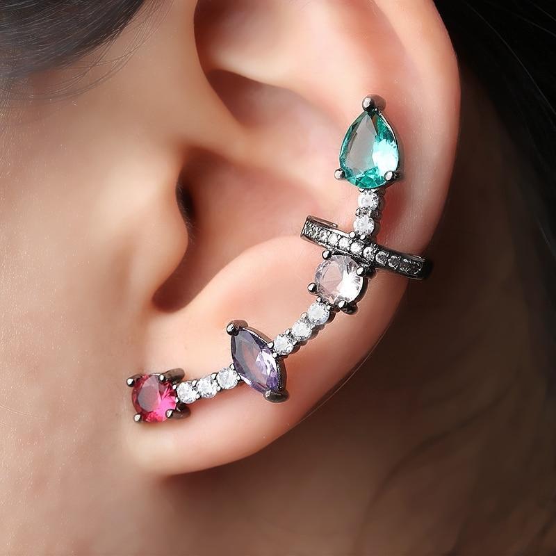Multicolor Ear Cuff Stud Earrings Green Crystal Water drop Paved zircons Stone Clip On Earrings Brinco for Women Fashion Jewelry