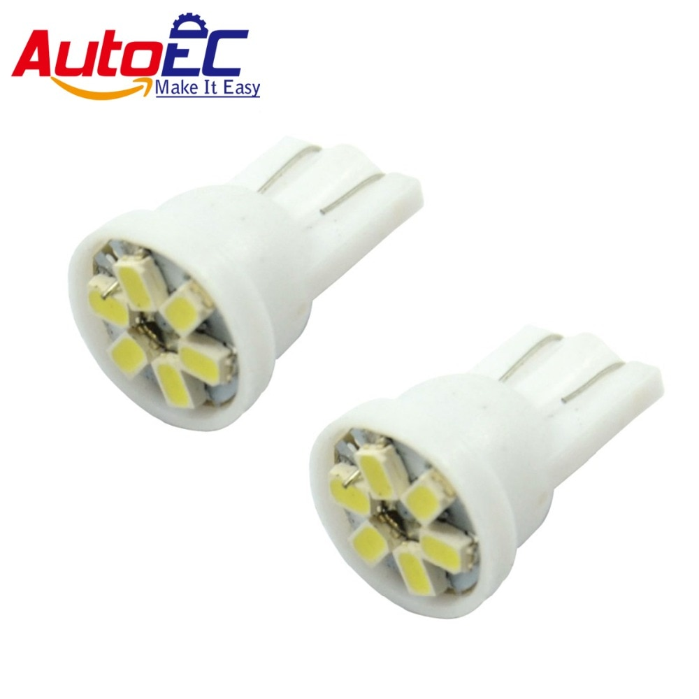 AutoEC 100 X T10 1206 W5W 6 SMD 6SMD LED del coche de la cuña lateral del bulbo de lámpara de luz 12 V blanco verde amarillo rosa azul rojo # LB03
