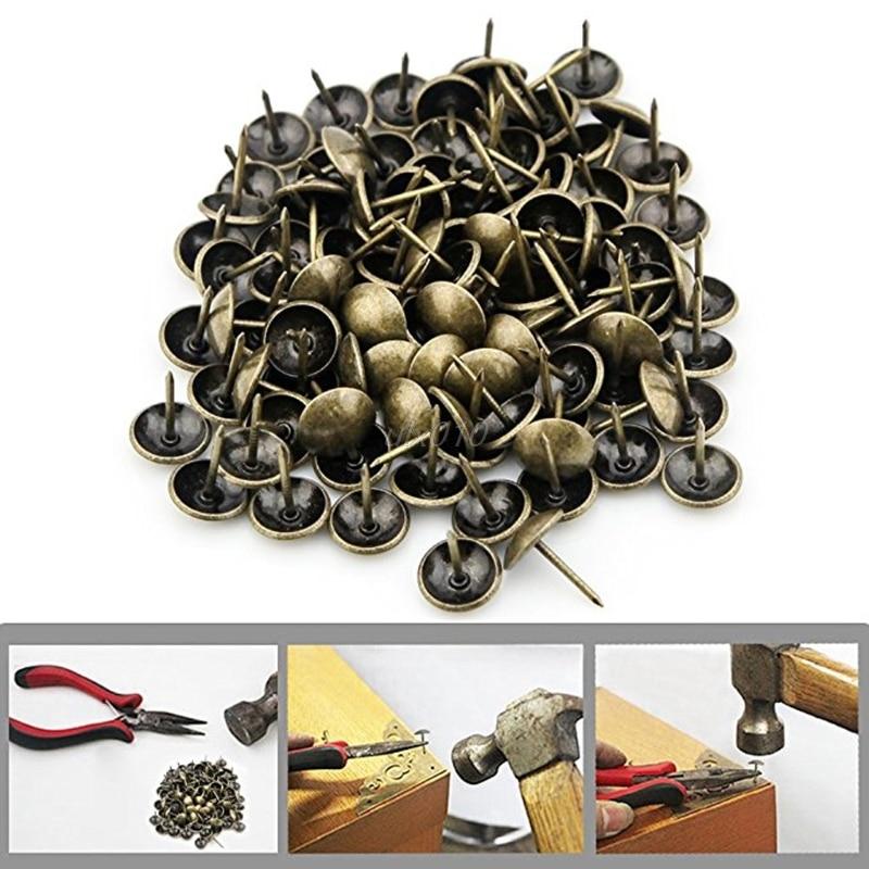 100Pcs Antique Brass Bronze Upholstery Nail Jewelry Gift Wine Case Box Sofa Decorative Tack Stud Pushpin Doornail Hardware Apr