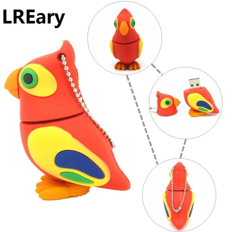 cute Parrot pen drive cartoon bird usb flash drive 32gb 16gb 8gb 4gb flash memory stick animal pendrive USB2.0 real capacity