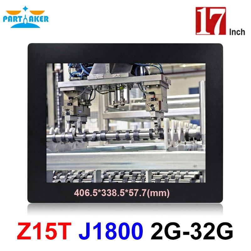 Panel Industrial Partaker Z15T PC todo en uno con 2mm Delgado 17 pulgadas procesador Intel Celeron Dual Core J1800