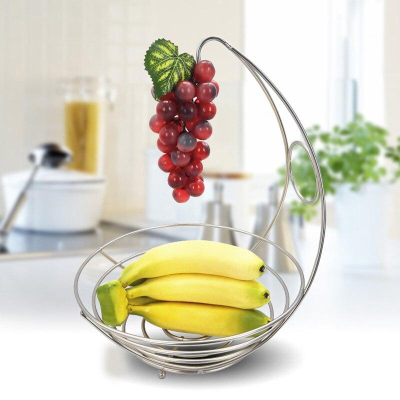 Support de bol de fruits 2 en 1   Cintre de banane, support de bol de fruits en fer, panier de rangement crochet de cuisine, boîte de rangement CSV
