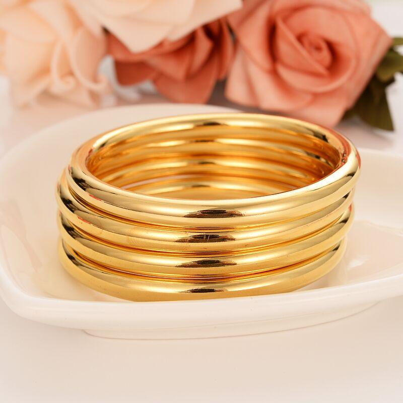 4 stück Montieren Großhandel Mode Dubai Glasur Armreif Schmuck 24 K Feine Gold GF Dubai Armband Afrika Arabischen Artikel