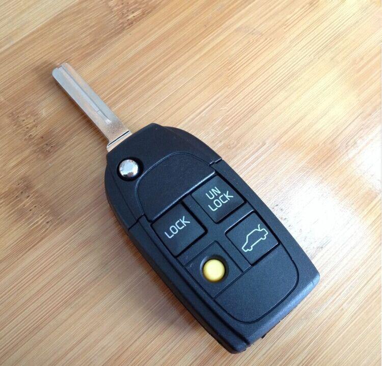 Funda con llave remota plegable modificada con 4 botones para Volvo XC70 XC90 S40 S60 S70 S80 S90 V40 V70 V90 C70