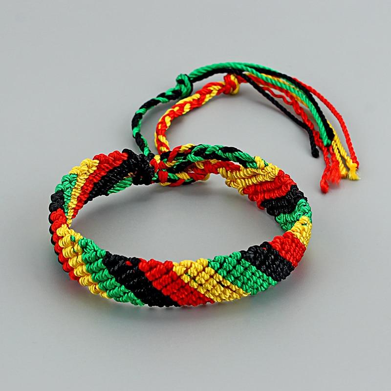 Браслет раста 11 мм, 1 шт., широкий плетеный хлопковый браслет в этническом стиле, ручная работа, браслеты Бохо макраме, кисточки на манжетах