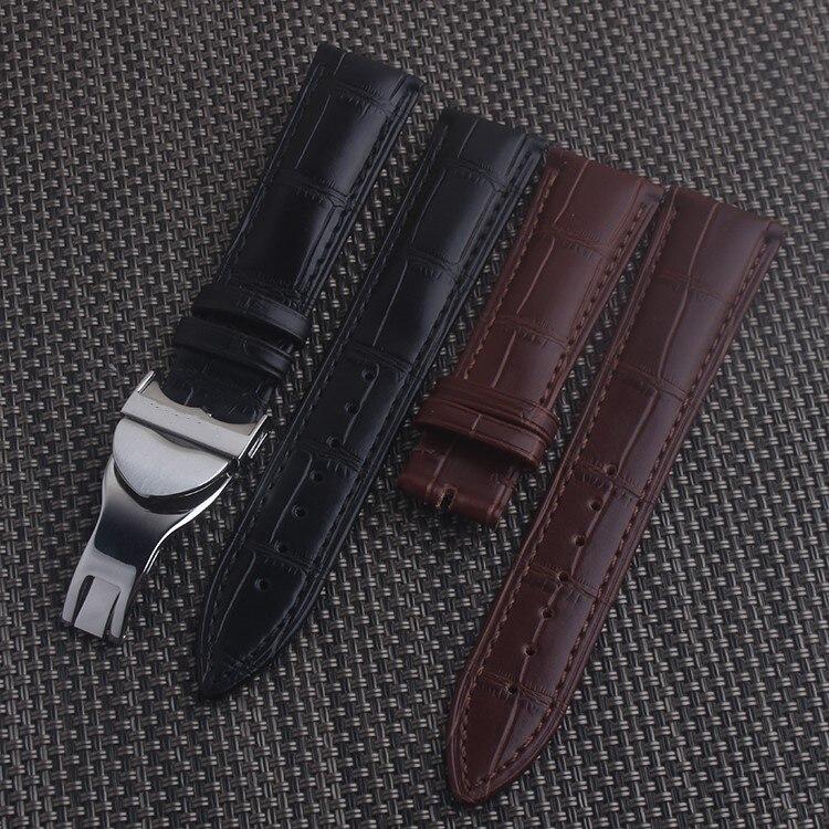 Negro marrón cuero genuino para TUDOR reloj Correa hebilla 19 20 21 22mm