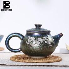 Théière en céramique Vintage   Théière en argent coloré incrustée, Pot de thé Kung Fu service à thé changement de four, tasse juste, théière avec 9 trous