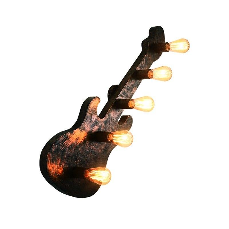 HAIXIANG clásico de madera de la vendimia de la guitarra de la pared del hierro de la barra de la lámpara Edison iluminación de las luces de la pared de la individualidad