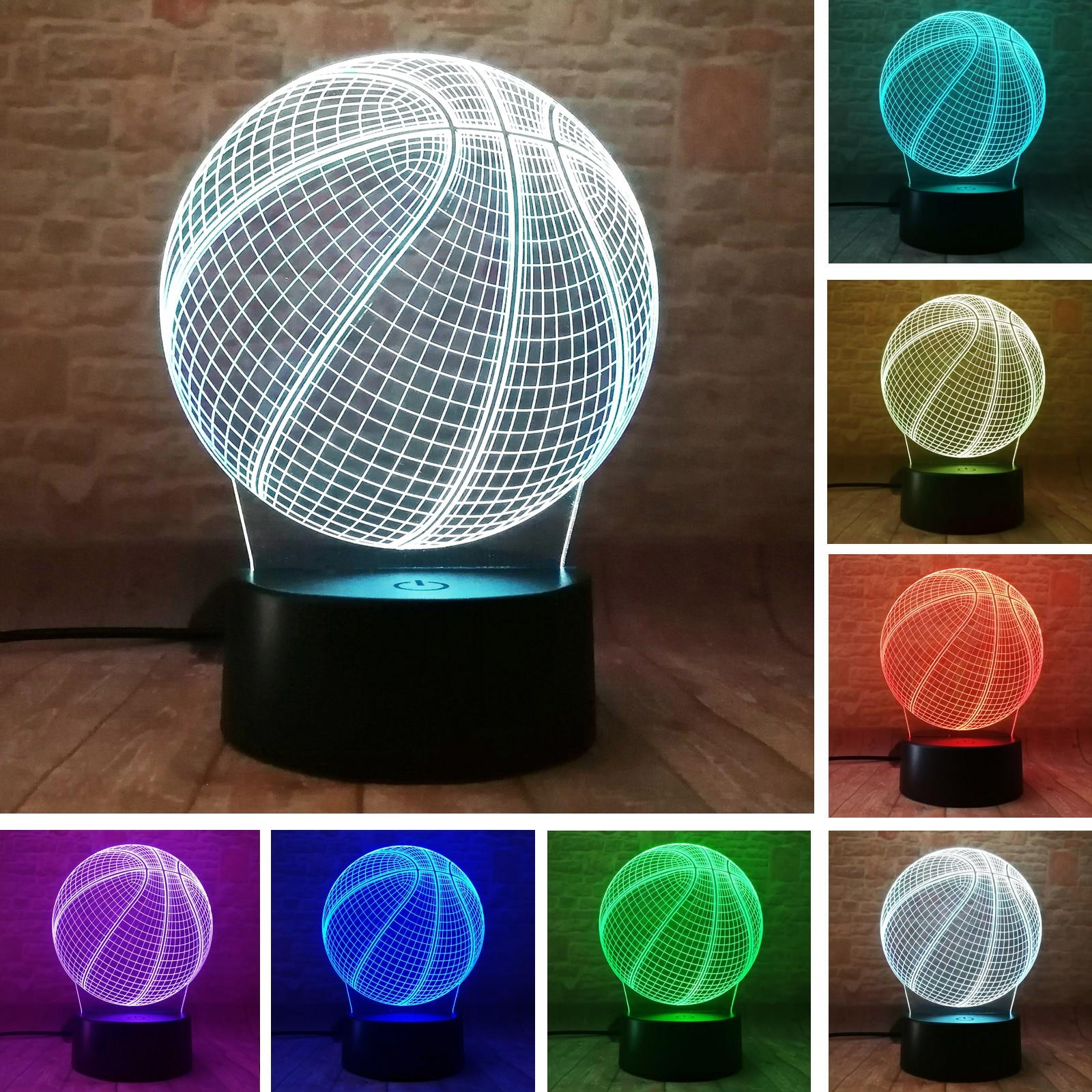 Баскетбольная 3d-лампа, подарок на день рождения, 7 видов цветов, авто изменение, ночник, для детей, мальчиков, мужчин, подарки, игрушка для люб...