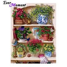 Ever Moment 5D bricolage diamant peinture jardin fleurs diamant mosaïque plein carré forets œuvre décoration de la maison strass ASF1226