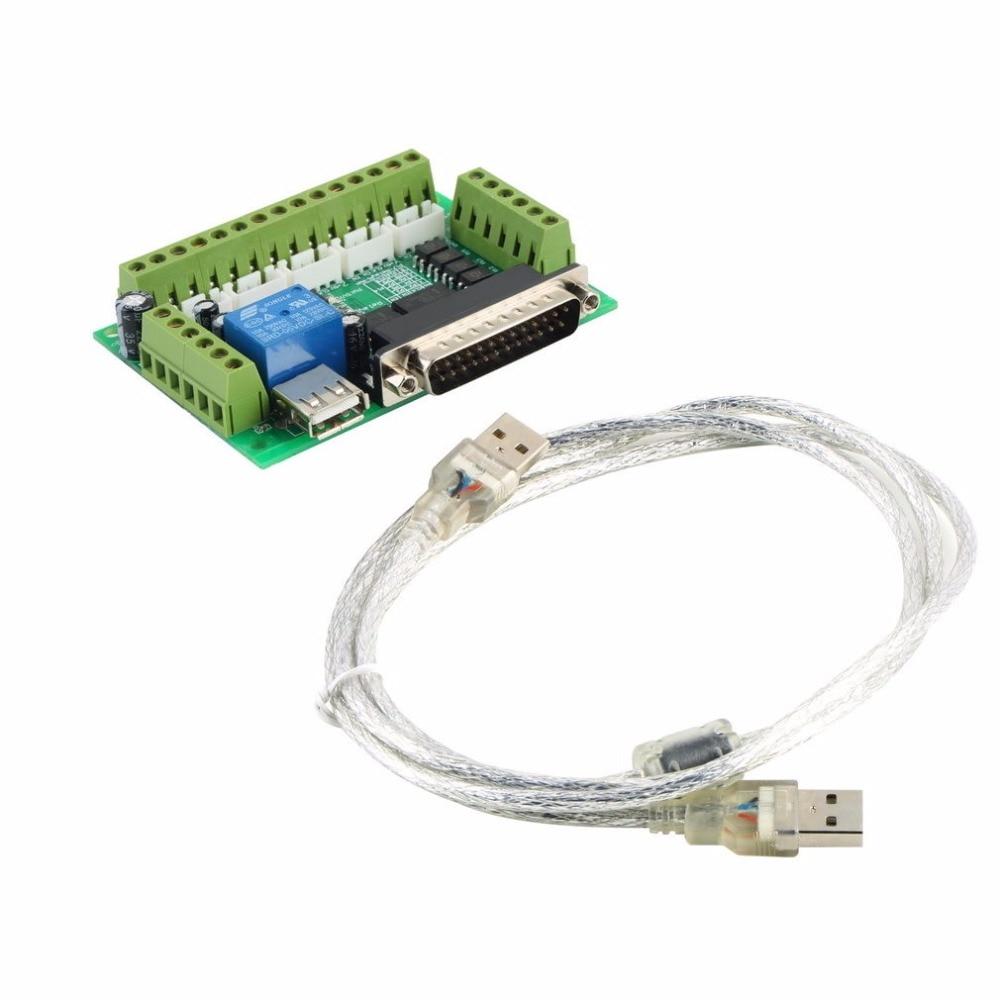 Verbesserte 5 Achsen CNC Schnittstellenadapter Breakout Board Für Schrittmotortreiber Mach3 + Usb-kabel