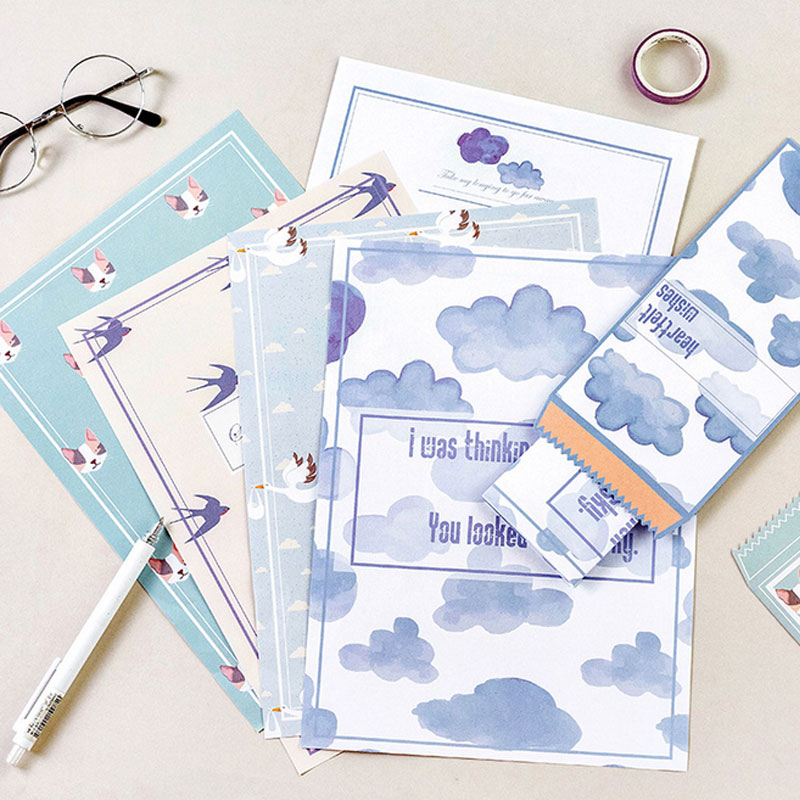 2 unids/lote SERIE DE cartero sobre membrete Oficina papelería con papel para escribir kawaii cumpleaños sobres regalo
