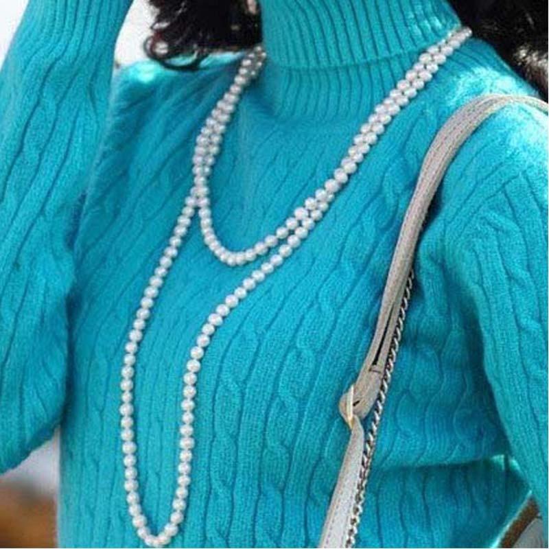 Blanco completo, perlas de imitación, collar largo DIY de hilo Simple para mujeres