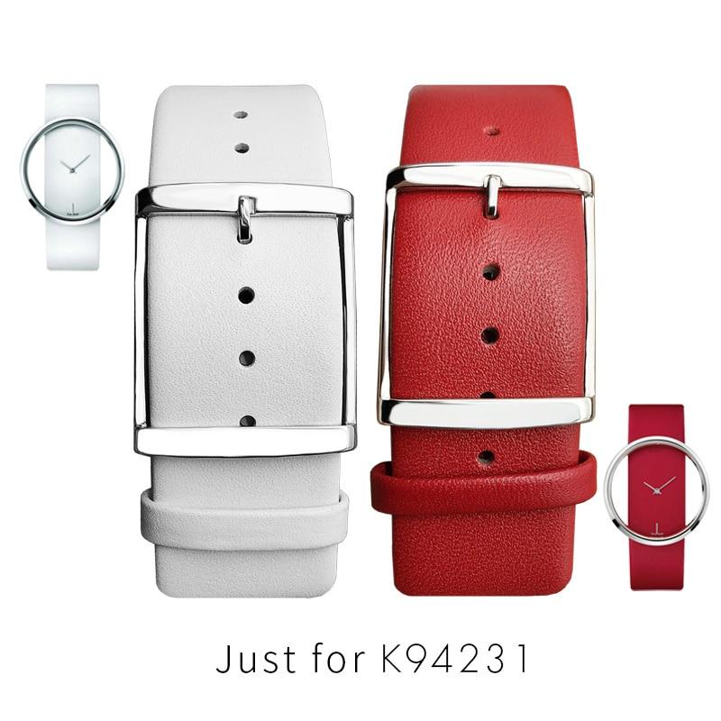 Correas de reloj para mujer CK K94231, cuero genuino, suave, duradero, correa...