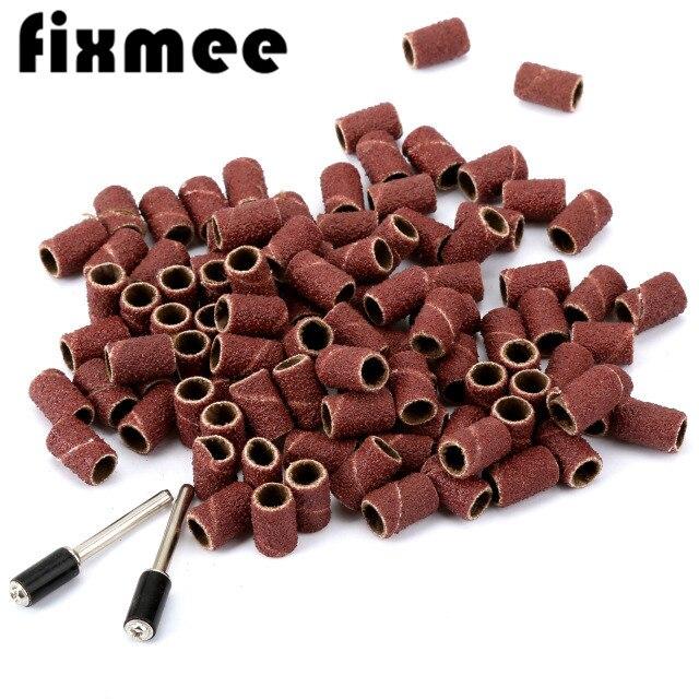 Fixmee 100 stücke 80# Schleifen Trommel Sand Bands Schaft Dreh Werkzeug W/2 Dorne für Nagel Bohrer