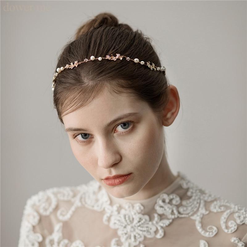 Tocado para dama de honor Simple de la hoja de oro de las mujeres enredadera para el cabello diadema nupcial hecha a mano accesorios para el cabello de boda