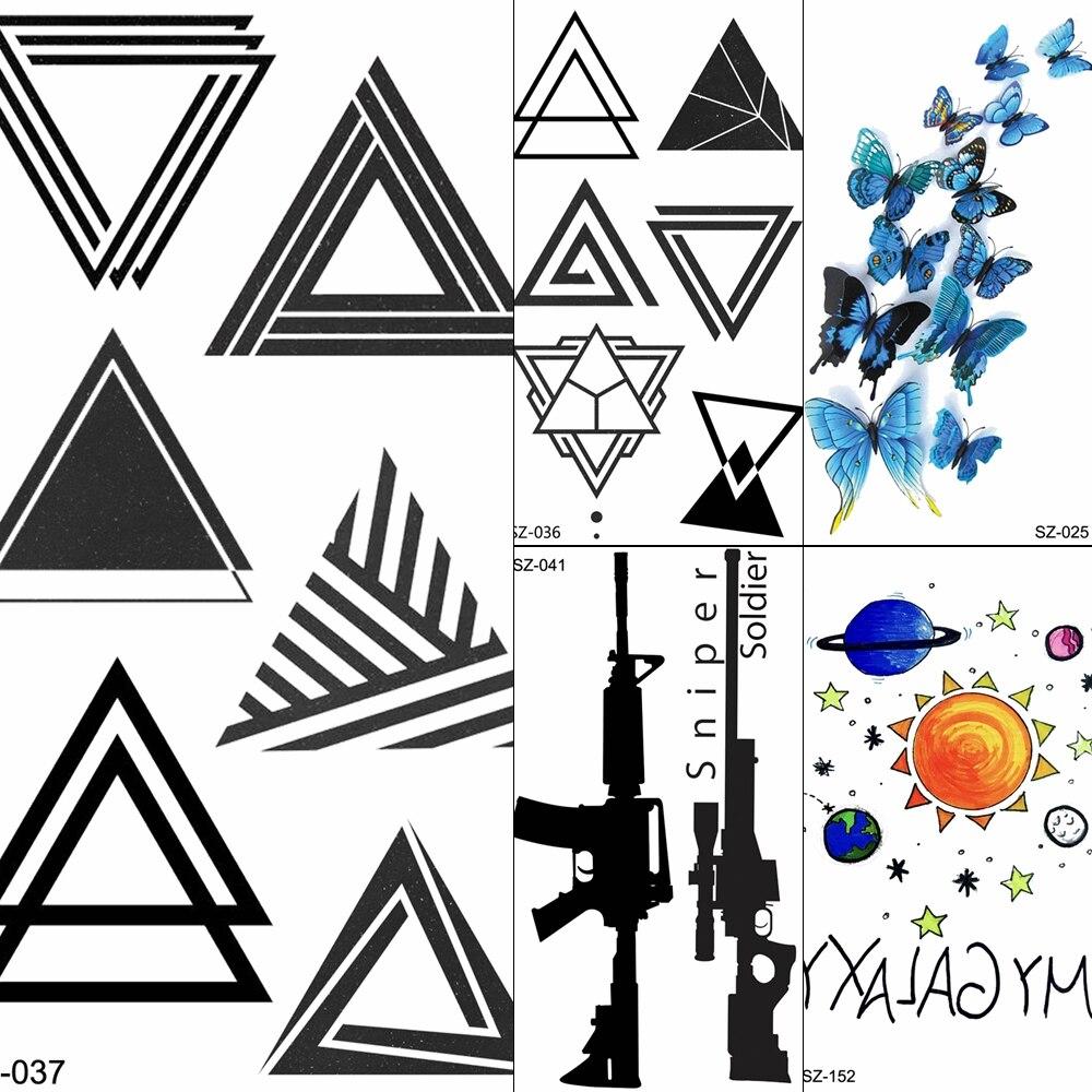 Tatuajes triangulares FANRUI, Tatuajes Temporales con diseño de León para hombres, tatuajes artísticos con rayas negras, tatuajes a prueba de agua 3D falsos para el brazo del cuerpo de los niños