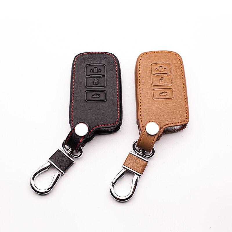 Carro de couro genuíno controle remoto caso chave do carro capa para toyota camry coroa rav4 prado 3 botões de controle remoto chave do carro capa