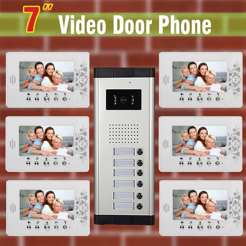 "6 unidades de Apartamento Interfone Telefone Video Da Porta Sistema de 7 ""monitor LCD night vision Camera para Apartamento de vídeo Porta sino interfone"