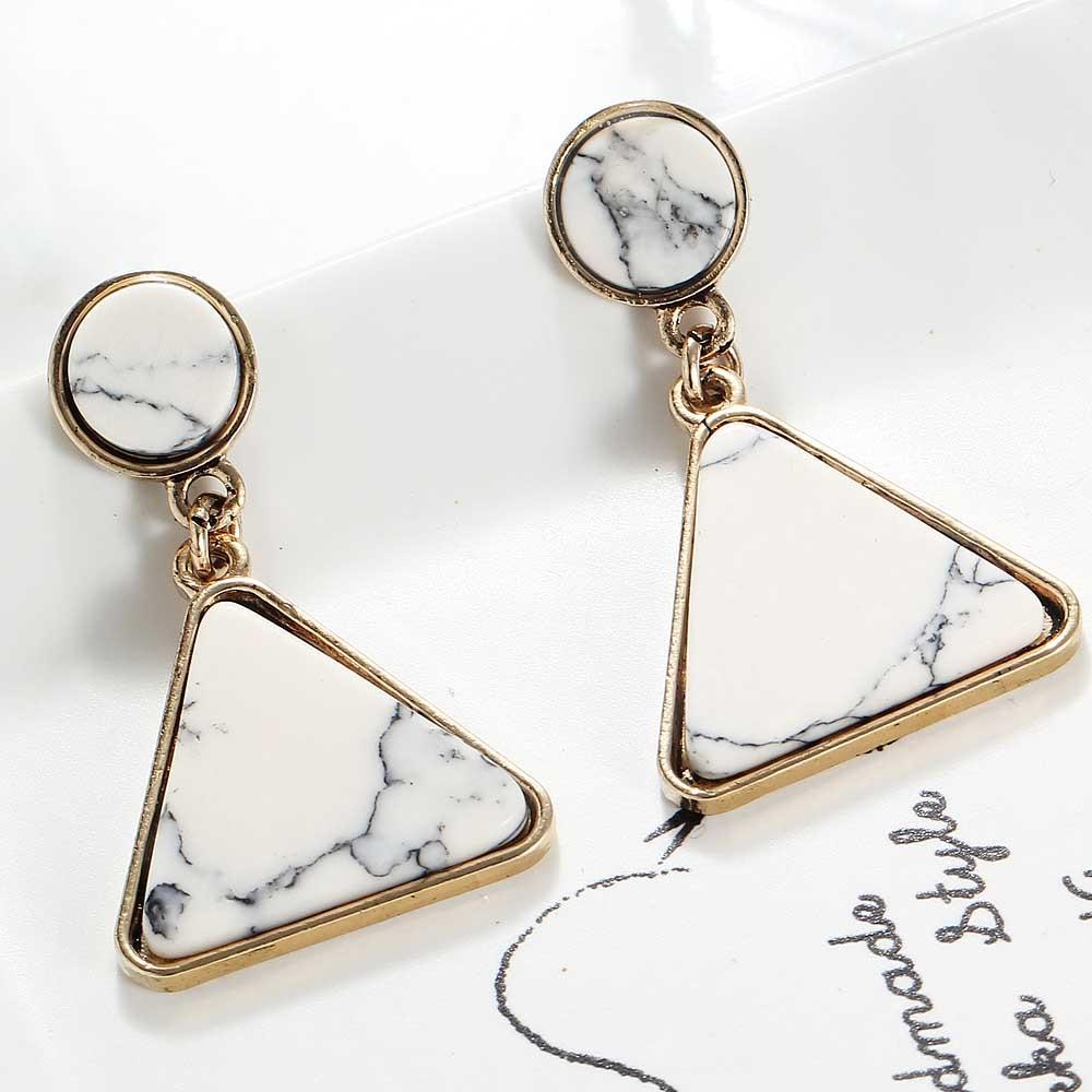 YaYi, gemas de piedra redonda triangular blanca, pendientes largos para mujer, pendientes de GEMA de Color dorado antiguo para mujer E1141