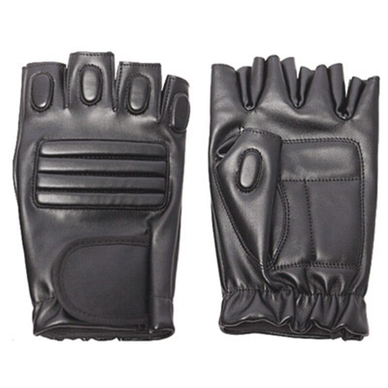 Guantes negros de cuero de medio dedo para hombre para ejercicio al aire libre