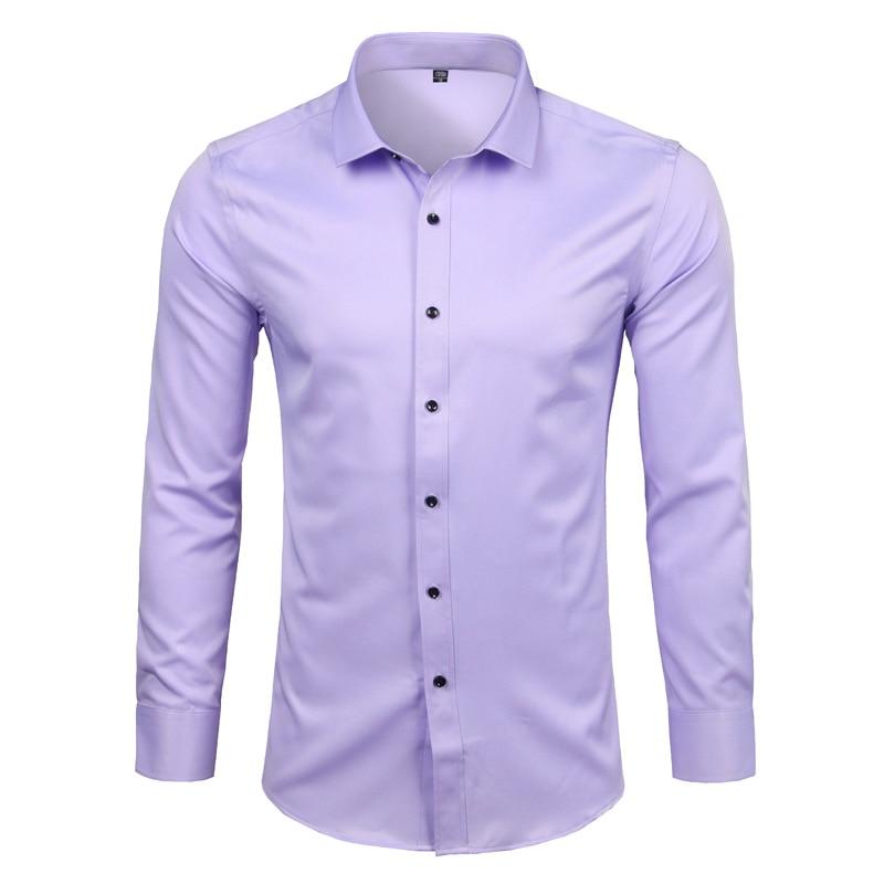 Men's Bamboo Fiber Dress Shirts Casual Slim Fit Long Sleeve Chemise Homme Formal Office Wear Elastic Social Shirts Purple 4XL