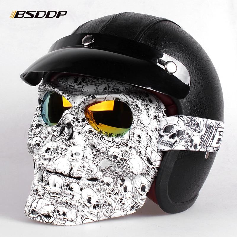Motorcycle Glasses Helmet Mask Skull Vintage Detachable Modular Mask Motorcycle Goggles Mouth Filter Moto Motocross Glasses enlarge