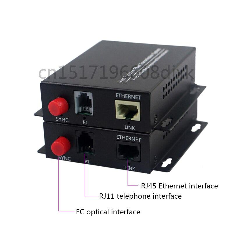 1 canal conversor de fibra óptica PCM voz do telefone e 1 canal 100M Ethernet, porta de fibra óptica FC, single mode, 20KM