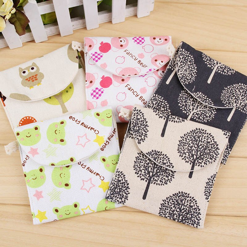 Multifunction  Cartoon Shape Sanitary Aunt Bags Cotton Credit Card Package Sanitary Napkin Storage Bag  Sanitary Pads 1 PC