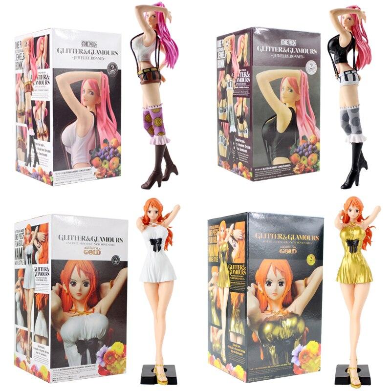 25cm One Piece Jewelry Bonney Nami Figure Toy Glitter and Glamours Anime Sexy Beauty Model Dolls