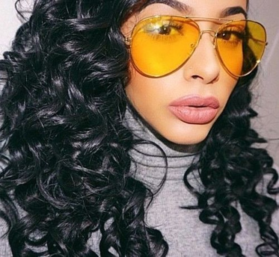Aviation Night Vision Yellow Sunglasses Men Women Goggles Glasses UV400 Sun Glasses Driver Night Dri