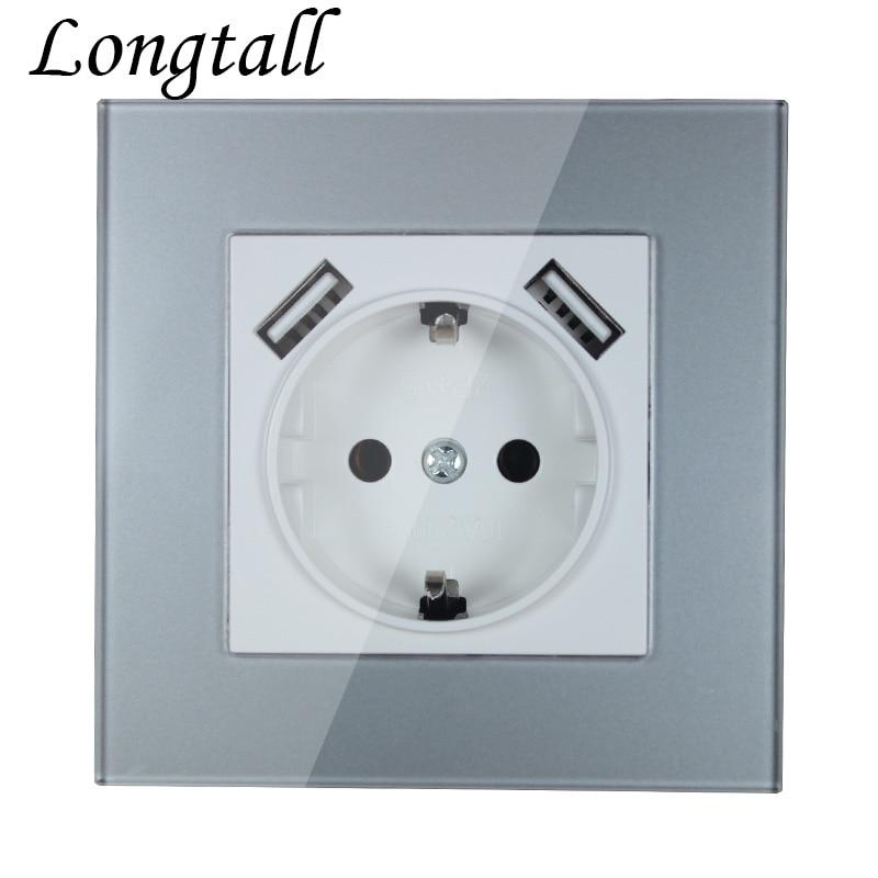 Carregador de parede usb, porta usb dupla de 5v 2a para saída pared de alta qualidade, prata acrílico LDS-04,